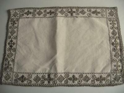 "Vintage Irish Linen Embroidered Cyprus Lefkara Table Mat, Topper 10"" x 15"""