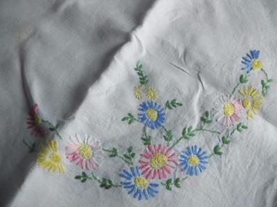 """Lovely Vintage Hand Embroidered Irish Linen Tablecloth - Floral Design 48"""" x 48"""""""