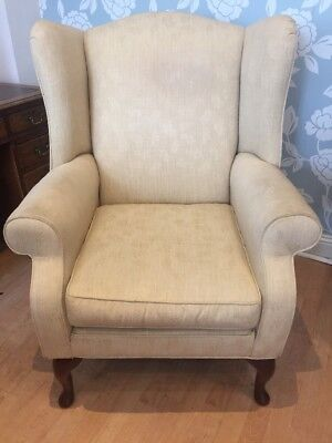 Laura Ashley Denbigh Cream Fabric Armchair Cabriole Legs FREE UK P&P🇬🇧
