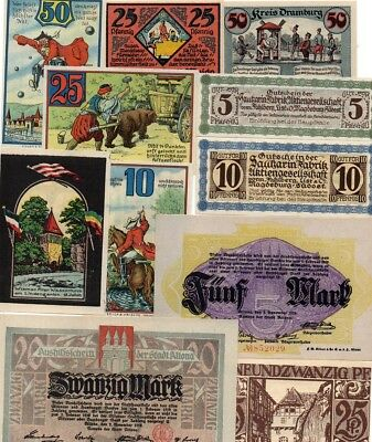 German 'mixed lot' of 11 different German notgeld banknotes - all in 'au-unc'.