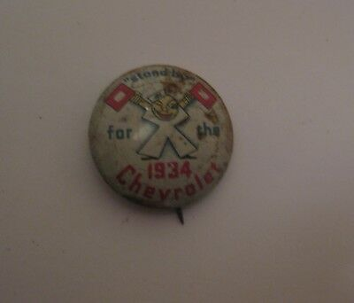 Vintage Stand By For The 1934 Chevrolet Advertising Automobile Pin Pinback