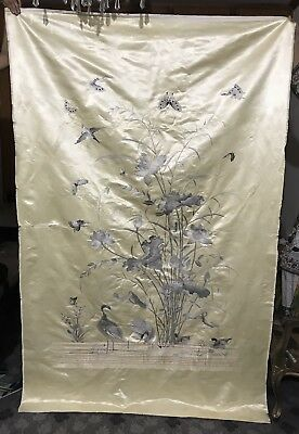 """ANTIQUE 19th QING DYNASTY CHINESE EMBROIDERED SILK PANEL WALL HANGING 55"""" By86"""""""