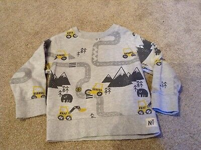 Next Baby Boys Grey Long Sleeve Road Tractor Print Jumper Age 18-24 Months