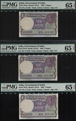 TT PK 78Ab 1985 INDIA 1 RUPEE 3 SEQUENTIAL S/N WITH SAME BLOCK # 47L PMG 65 EPQ