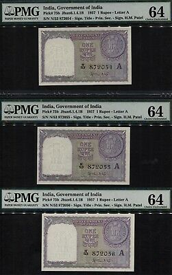 TT PK 75b 1957 INDIA 1 RUPEES SET OF 3 SEQUENTIAL NOTES W/ SAME BLOCK N53 PMG 64