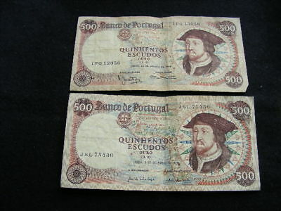 Portugal 500 escudos banknotes 1966 Lot of 2 fine (1 with staple holes)