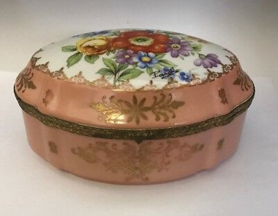 Antique French Artist Signed Hand Painted China Trinket Jewelry Box