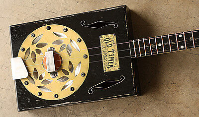 3 string Resonator Cigar Box Guitar ~ 1857 Brass Old Timer Tobacco Slide Dobro