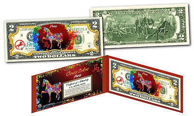 Chinese ZODIAC Genuine U.S. $2 Bill Red Polychrome Blast * YEAR of the HORSE *
