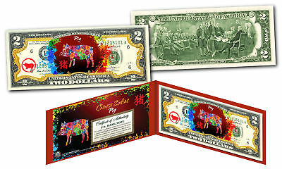 Chinese ZODIAC Genuine U.S. $2 Bill Red Polychrome Blast * YEAR of the PIG *