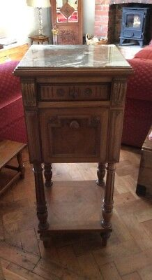 Antique French Bedside / Pot Cupboard With Marble Top & Lining c1900