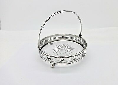 Webster Co. Floral Decor Sterling Silver Swing Handle Candy Bowl,glass Insert