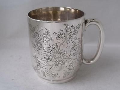 Pretty Antique Hand-Engraved Solid Silver Cup/ Mug 1885/ H 7.8 cm/ 124 g