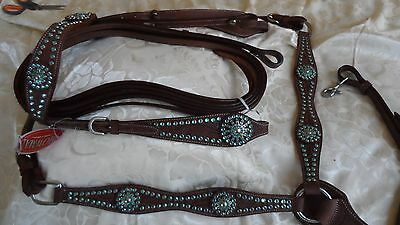 HORSE BRIDLE, REINS & BREASTPLATE SET - Turquoise, rhinestones