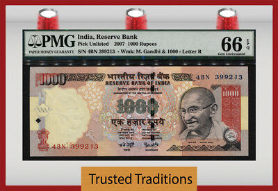 "Tt 2007 India 1000 Rupees ""ghandi"" ""reserve Bank"" Pmg 66 Epq Choice Uncirculated"