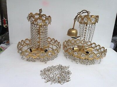 Amazing Pair Of Vintage Crystal Ceiling Hanging Chandelier Light Fitting