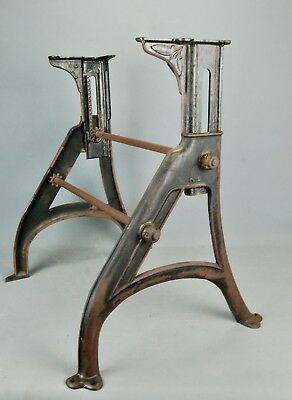"""Industrial Machine Age Steampunk Iron Adjustable Table Legs Base 17.5"""" - 23.5""""H"""
