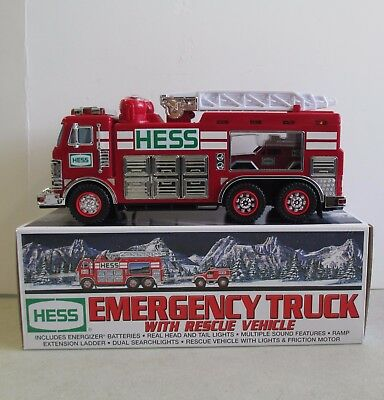Mib 2005 Hess Gasoline Toy Emergency Truck With Rescue Vehicle W/ Lights In Box