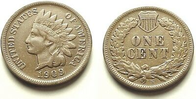 X/f 1909 S Indian Head Cent-Lowest Mintage! Key Date ! Free Shipping!
