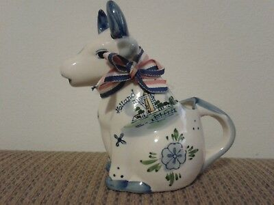 Delft Blue cow creamer windmill on one side