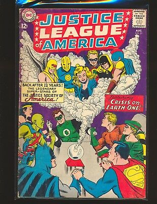 Justice League of America # 21 Earth-One Fair Cond. water damage 2 stapled added