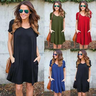 HOT Women Short Sleeve Dress Ladies Pocket Solid Loose Party Mini Short Dress S