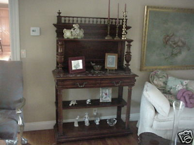 Austrian Burl Walnut Marble Entry China Art Display