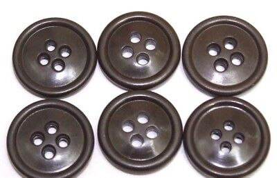 US dark brown olive green plastic buttons 3/4 inch 19mm 30 Ligne lot of 6  B6050