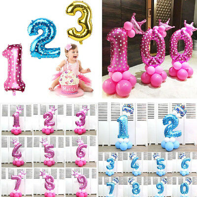 Number Foil Balloons 32 inch Pink&Blue Digit Helium Ballons Birthday Party Decor