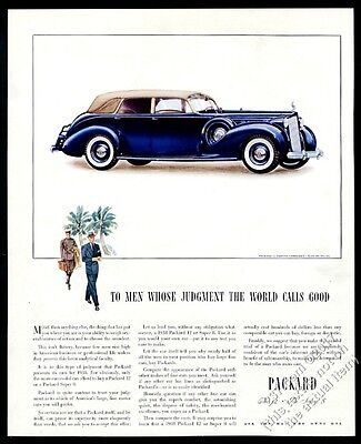 1938 Packard 12 touring cabriolet convertible blue car art vintage print ad