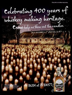 2007 Old Bushmills Irish Whiskey 400th anniversary candles pic vintage print ad