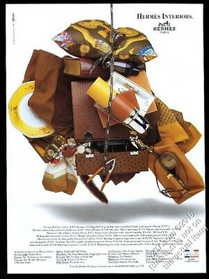 1989 Hermes Paris hunting hamper scarf pipe bracelet etc photo vintage print ad