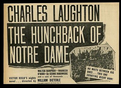 1939 Charles Laughton The Hunchback of Notre Dame movie trade print ad