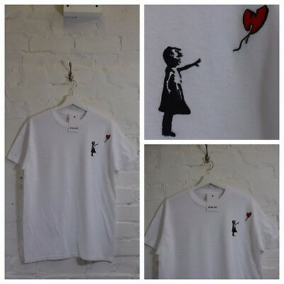 Wu x Banksy Girl Embroidered Black Street Art Hip Hop Tee T-shirt Top by A F