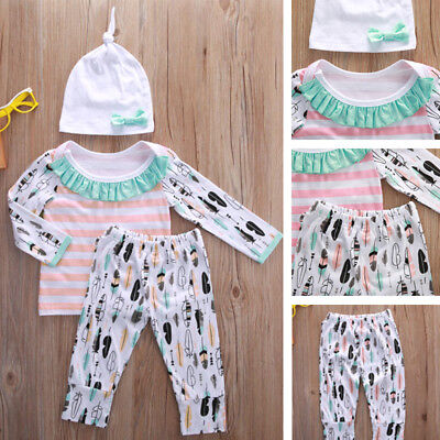 3x Newborn Infant Baby Girl Outfits Clothes Set Bodysuit Feather Pants Leggings