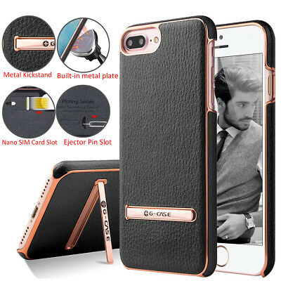 G-Case Luxury Leather Kickstand Plating Hard Back Case Cover F iPhone X 7 8 Plus