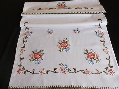 VINTAGE HAND EMBROIDERED COUNTRY STYLE WHITE COTTON CURTAIN/BLIND 104 x 53cms