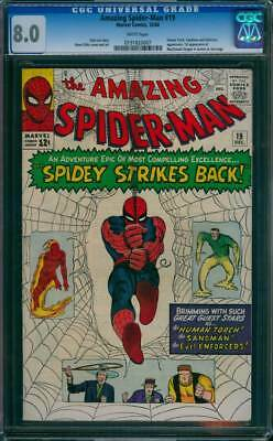 Amazing Spider-Man #  19  Spidey Strikes Back !  CGC 8.0  scarce book!