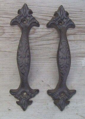 Set 2 Fleur De Lis Cast Iron Gate Pull Barn Door Shed Pull Handle Brown Finish