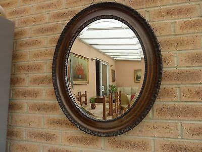 Antique Decorative Oval Bevelled Mirror Walnut