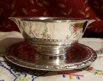 Rogers & Bros Silverplate Double Spout Gravy Boat & Under Plate #1713