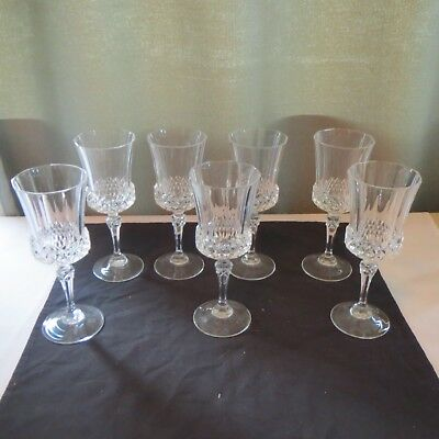 """7 Vintage Wine Glasses/Goblets with Diamond Cut Pattern Heavy Crystal 8 1/2"""""""