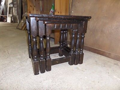 Vintage Dark Oak Nest of Three 3 Tables for Upcycle Shabby Chic Painting