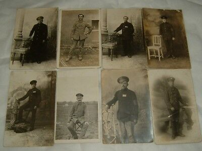 8 (Eight) Vintage Ww1 Great War Photograph / Postcards , Soldiers In Uniform