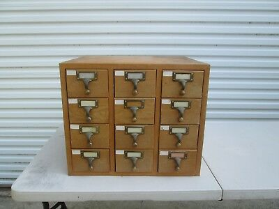 Vintage Library Card Catalog Cabinet Box Maple ? Wood 12 Drawer  Library File