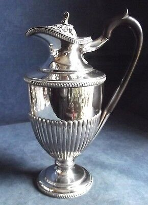 "SUPERB Large 11"" ~ SILVER Plated ~ FLUTED Water / WINE JUG ~ c1890 by Barker Brs"