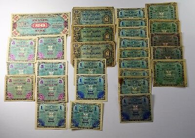 Lot Of 27 - 1944 Allied Occupation Military Currency Ww2 - Vg/au