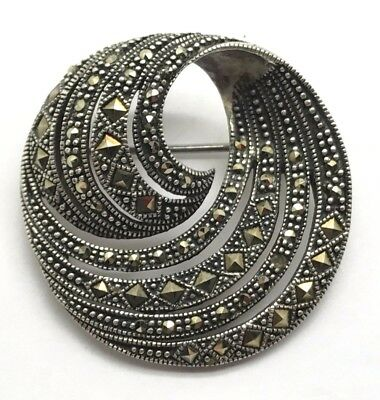 Vintage Style Oxidized Sterling Silver Marcasite Spiral Wave Round Pin - Brooch