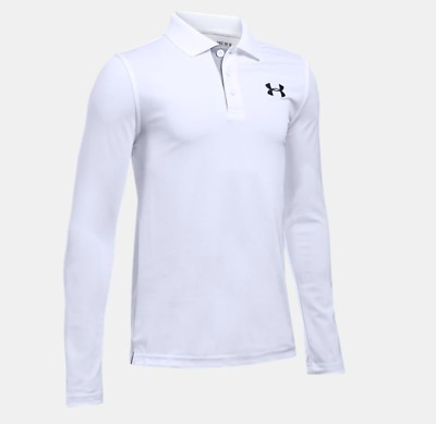 New Under Armour Boys' Match Play Polo Long Sleeve Shirt Size Large White