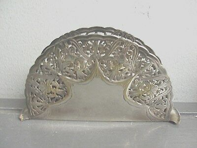 """Antique Wallace Ornate Reticulated Lattice Napkin Holder Wallace """"w"""" Silver Plat"""
